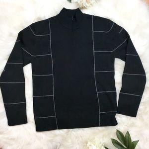 DKNY grid zipper sweater